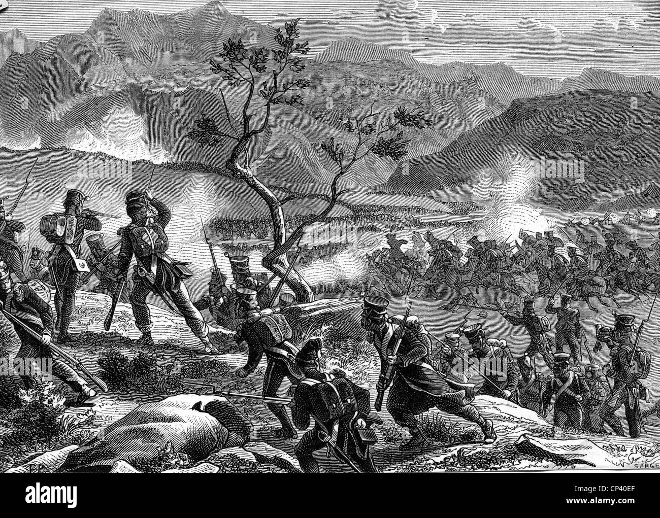 events, Peninsula War 1808 - 1814, Battle of Redinha, Portugal, 12.3.1811, charge of Ney's Division, wood engraving, - Stock Image