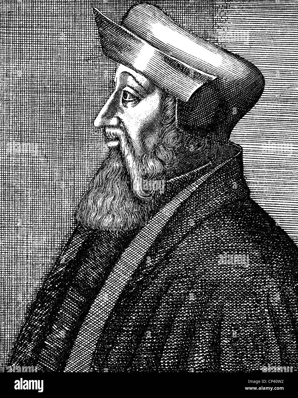 Oecolampadius, Johannes, 1482 - 24.11.1531, German reformer, portrait, copper engraving, 17th century, , Artist's - Stock Image