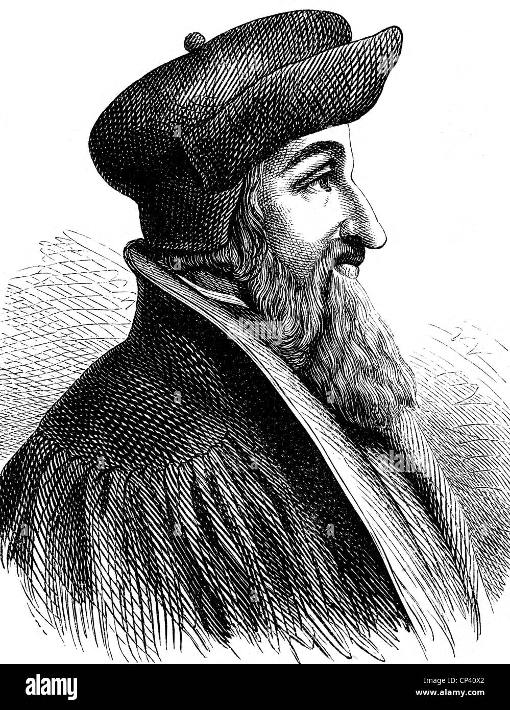 Oecolampadius, Johannes, 1482 - 24.11.1531, German reformer, portrait, wood engraving, 19th century, , Additional - Stock Image