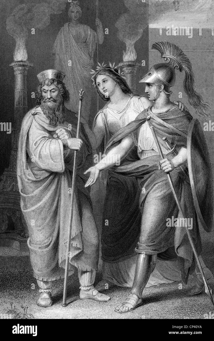 theater / theatre, plays, Iphigenia in Tauris, by Johann Wolfgang von Goethe, act 5, scene 6, steel engraving by - Stock Image