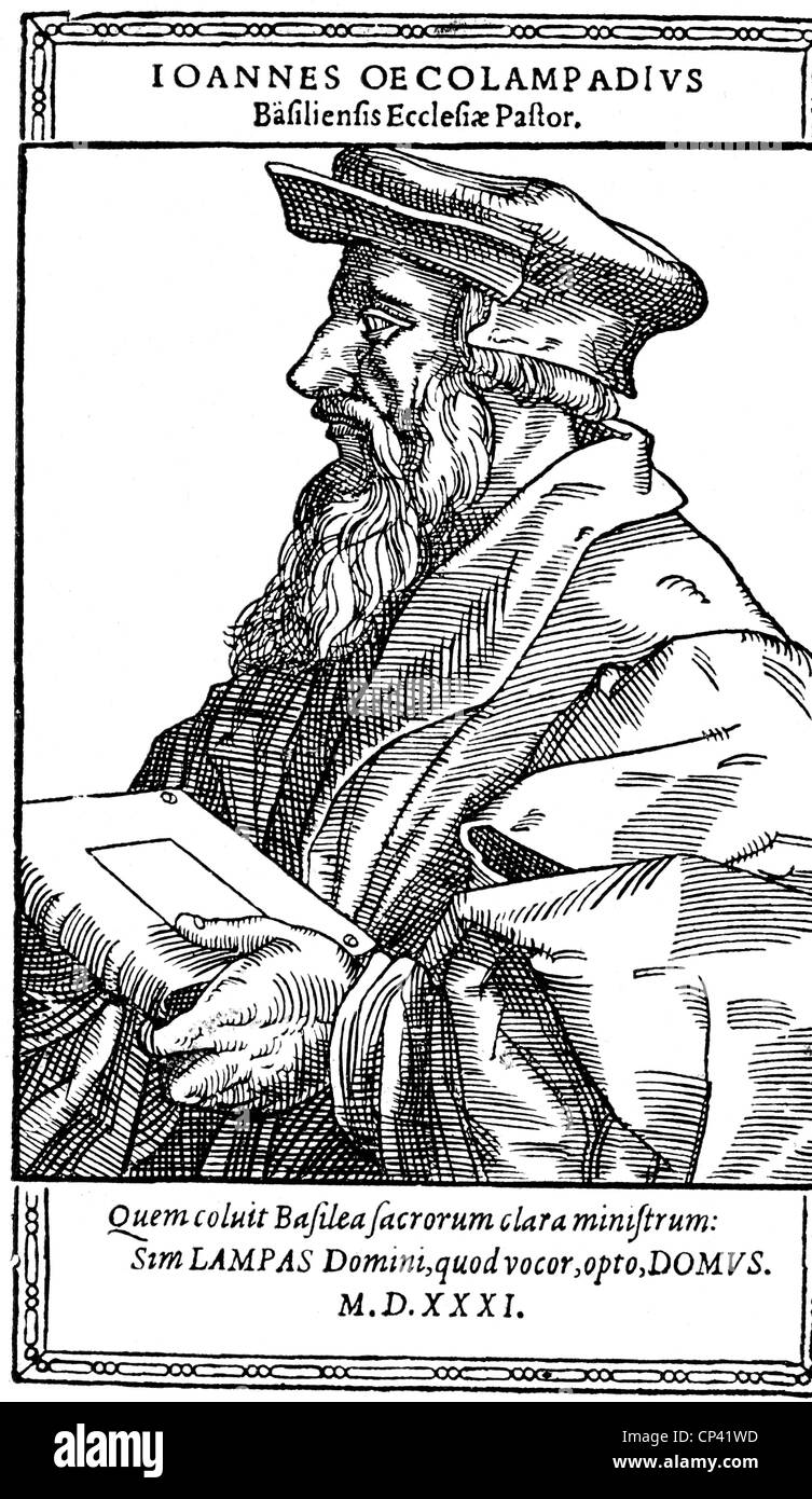 Oecolampadius, Johannes, 1482 - 24.11.1531, German reformer, half length, woodcut, 1560, Additional-Rights-Clearances - Stock Image
