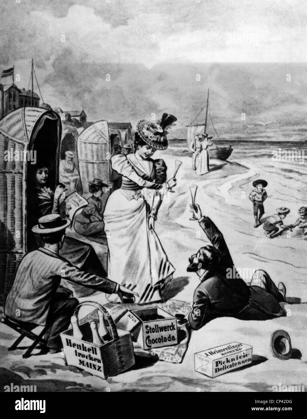 bathing, seaside resort, party on the beach, wood engraving by R. Sperl, Germany, 1899, Additional-Rights-Clearences - Stock Image