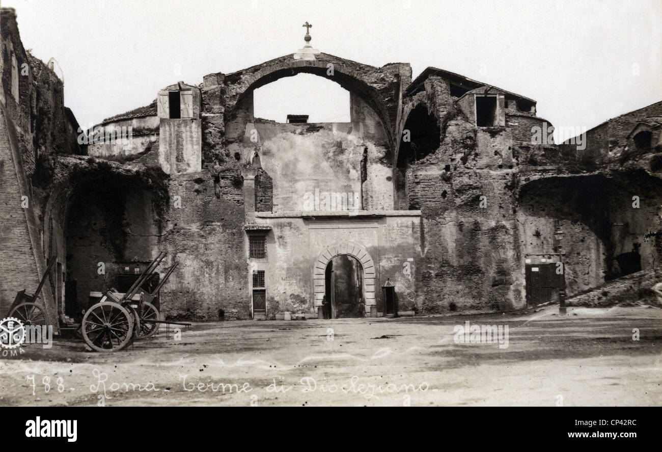 geography/travel, Italy, Rome, Baths of Diocletian, view, picture postcard, circa 1910, Additional-Rights-Clearences Stock Photo