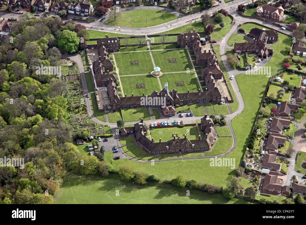 Aerial view of The Richard Watts and The City of Rochester Almshouses Charities, Rochester, Kent - Stock Image