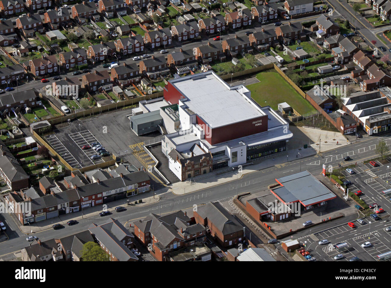 Aerial view of The Baths Hall Entertainment Venue, Scunthorpe - Stock Image