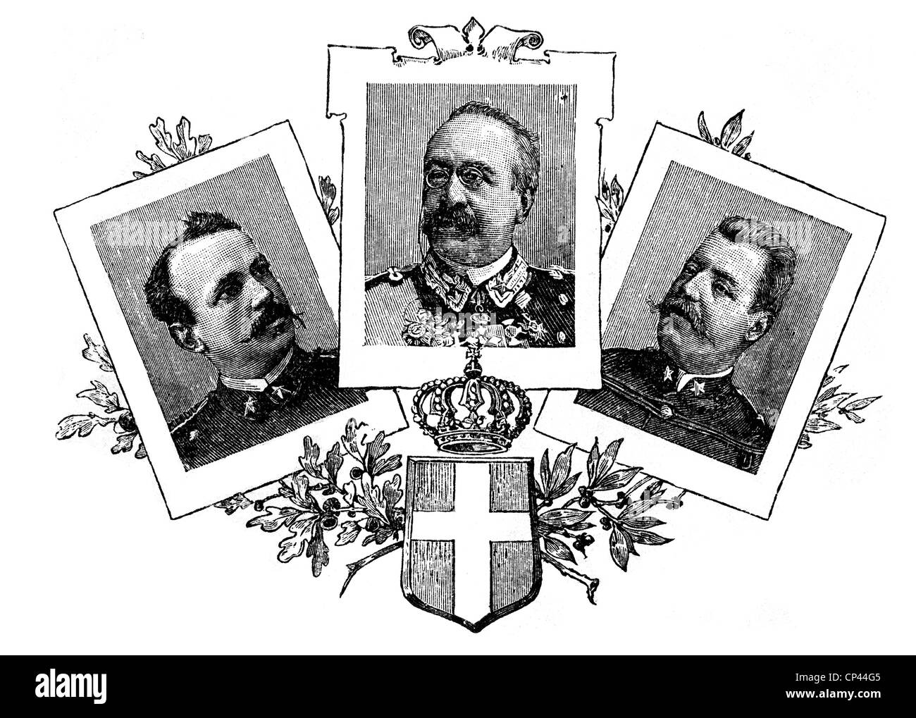 Baratieri, Oreste, 13.11.1841 - 8.8.1901, Italian general, portrait, with portraits of two other officers who took - Stock Image