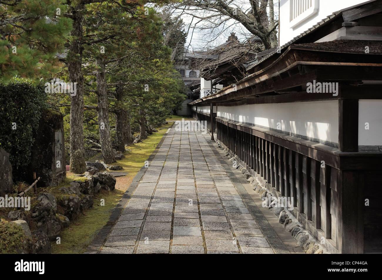 walkway flanked by conifers, Koya-San, Japan Stock Photo