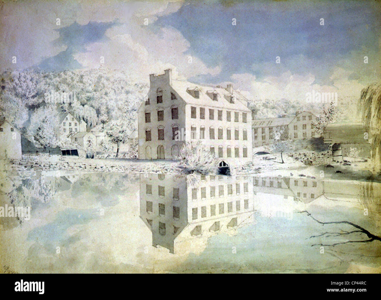 Young's Mill on the Brandywine Creek. ca. 1830 - Stock Image