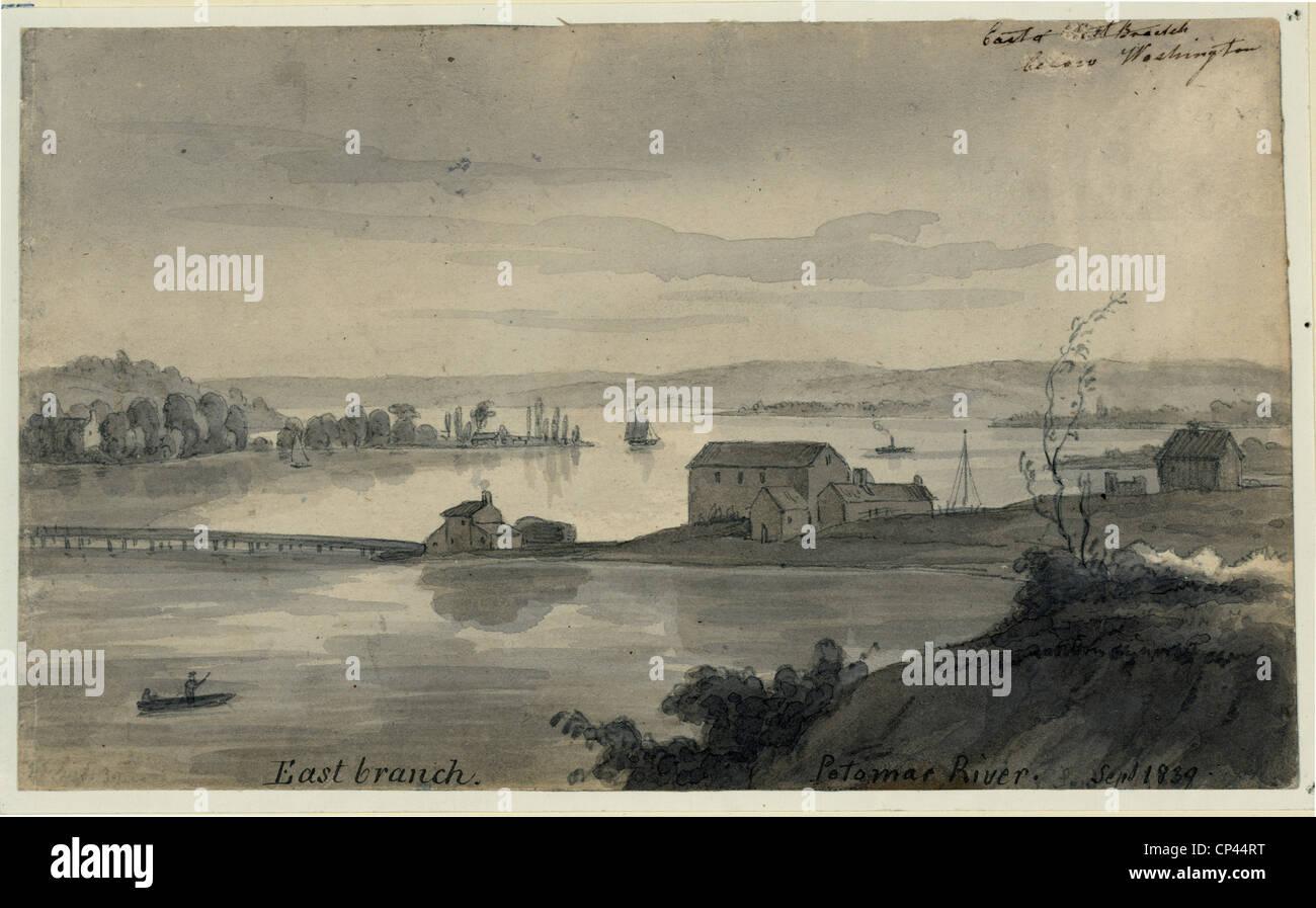 Anacostia. Anacostia and Potoma rivers near Washington, D.C. 1839 - Stock Image