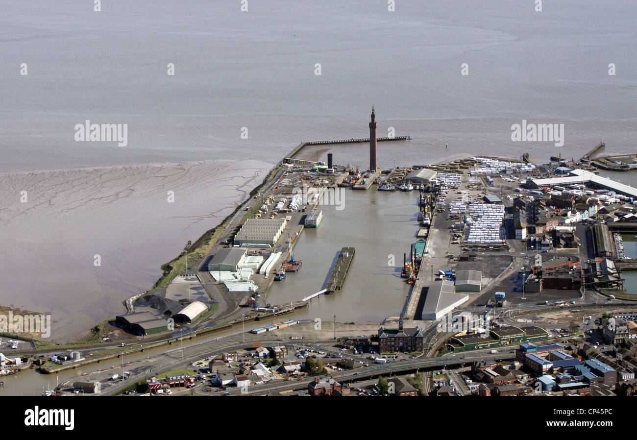 aerial view of Grimsby docks and Tower - Stock Image