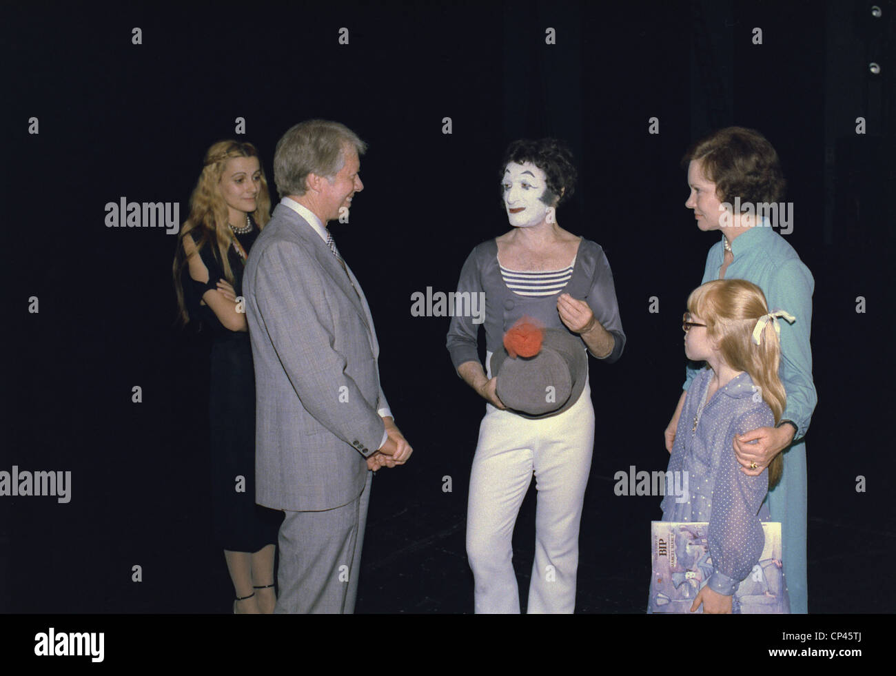 President Jimmy Carter Rosalynn Carter and Amy Carter with French mime Marcel Marceau. June 16 1977. - Stock Image
