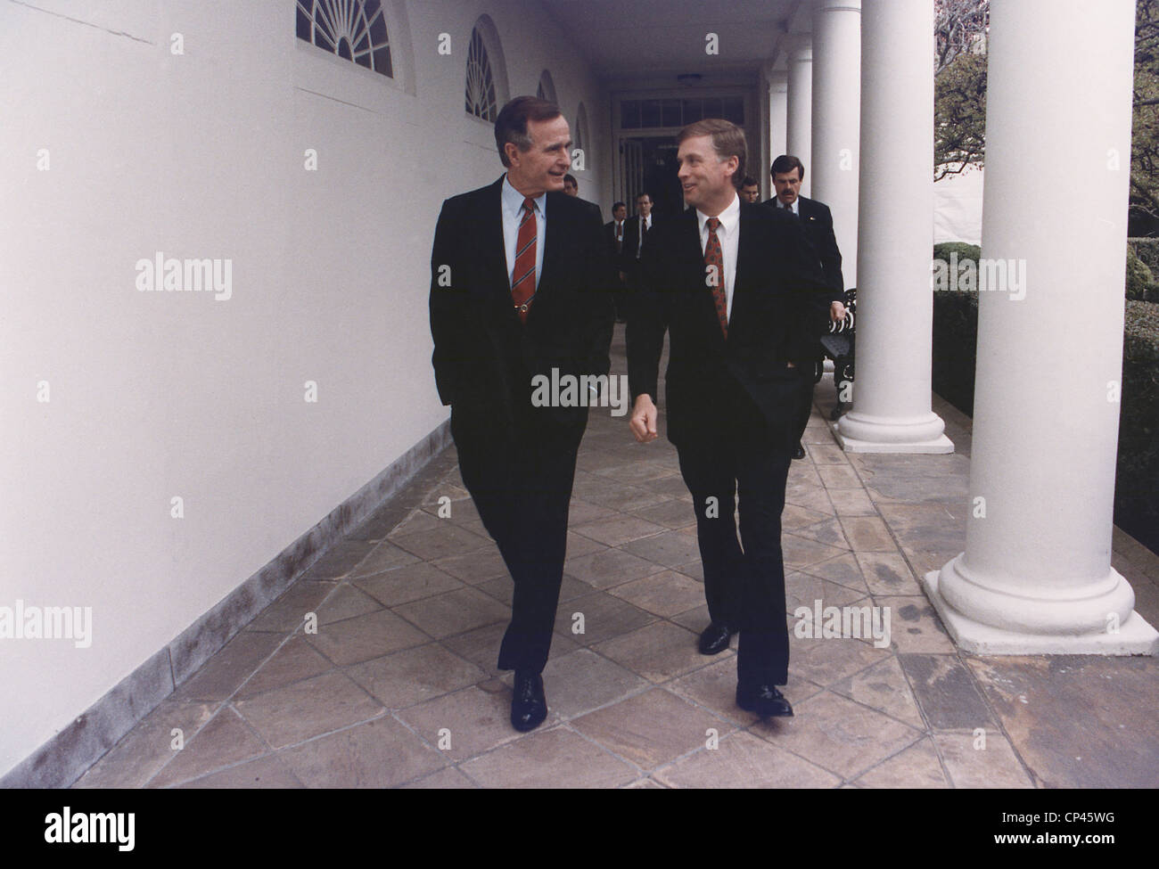 west wing office space layout circa 1990. President George H.W. Bush Walks Along The West Wing Colonnade With His Vice-President Dan Quayle. Ca. 1990. Office Space Layout Circa 1990