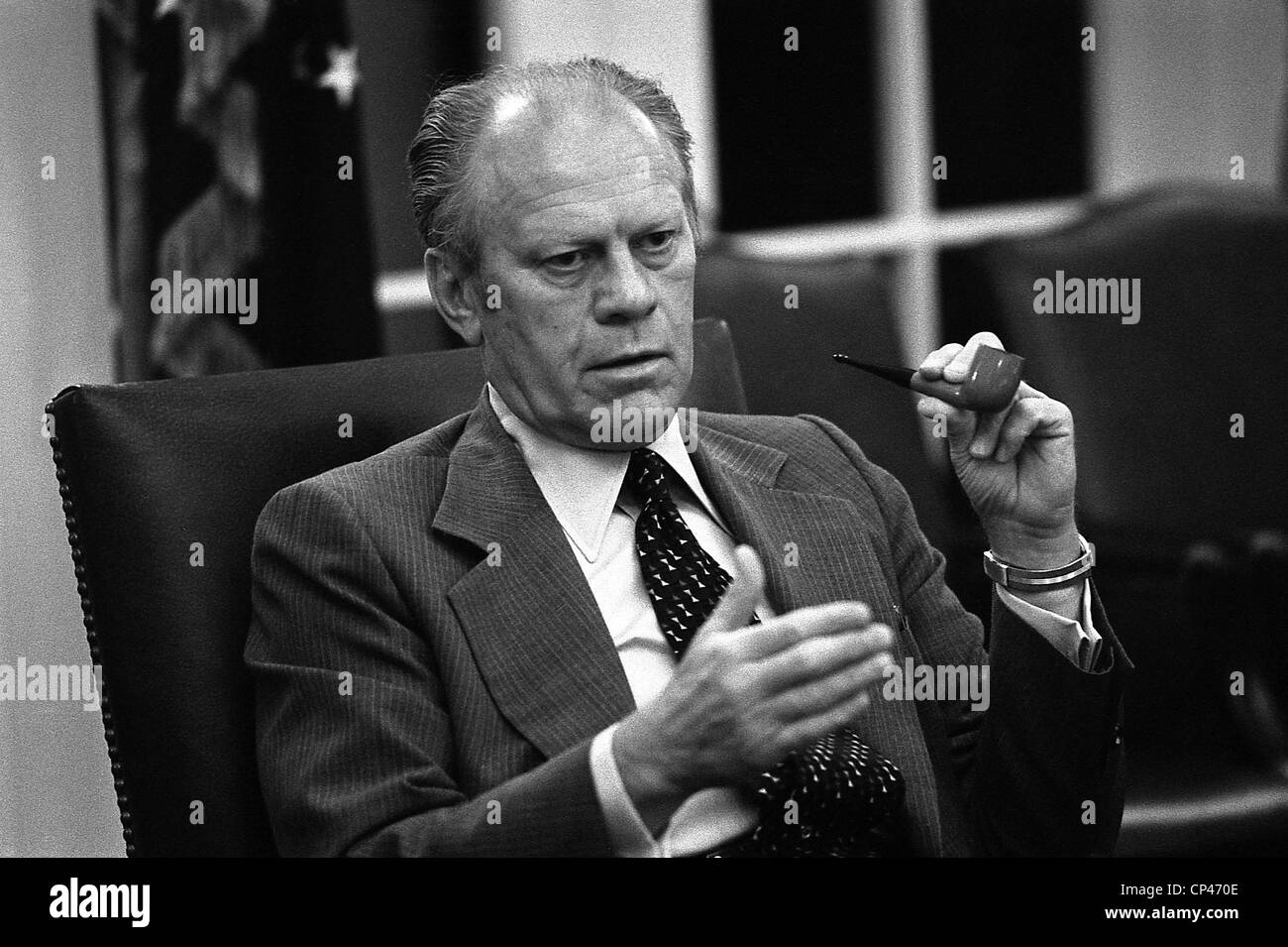 President Ford during a National Security Council meeting during the Mayaguez crisis the seizure of the cargo ship - Stock Image