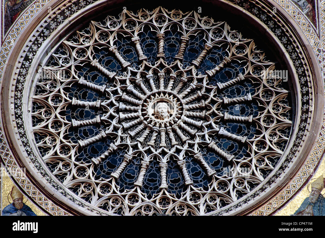 Umbria - Orvieto (Tr). Cathedral, detail of rose - Stock Image