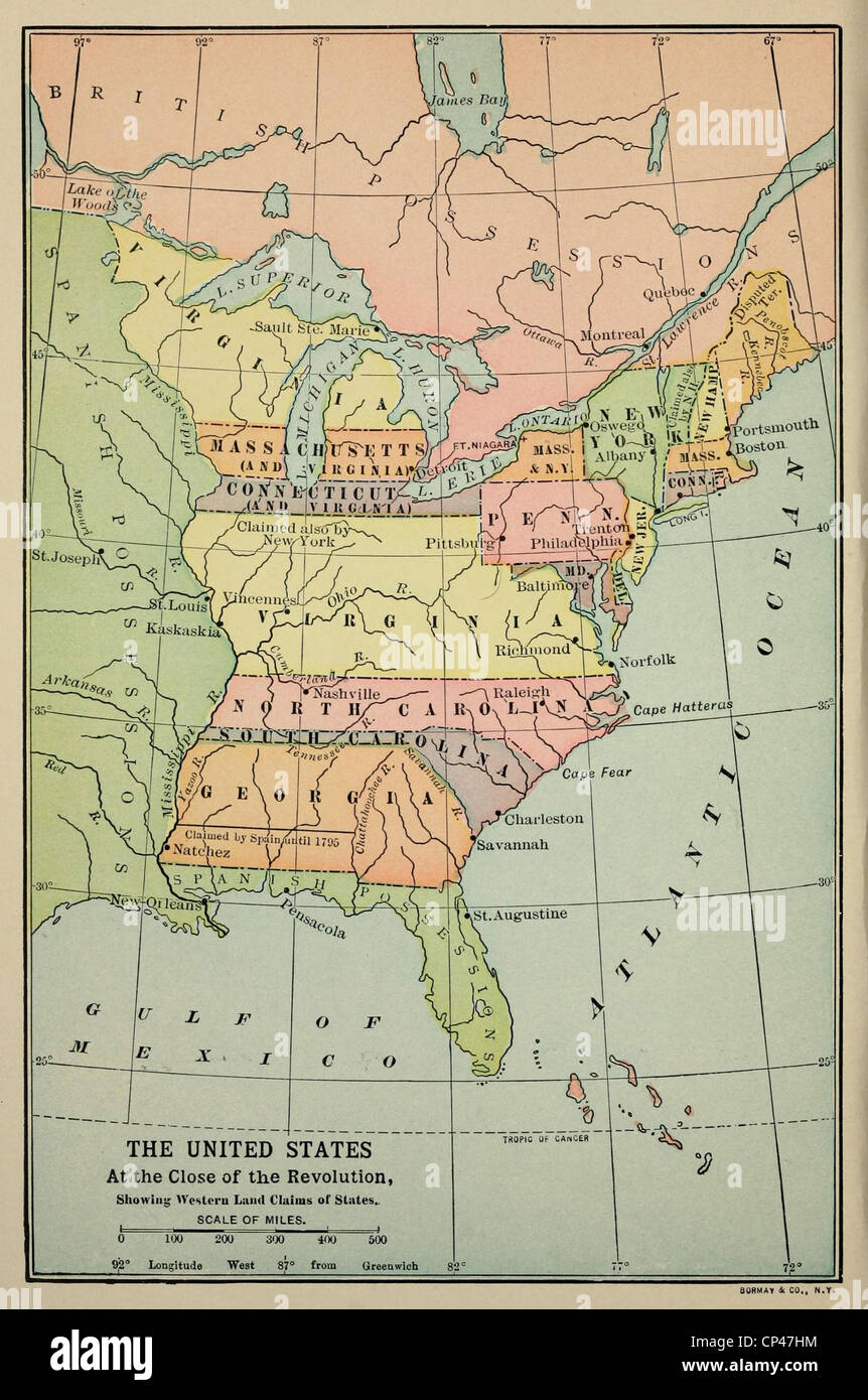 Map of Eastern North America in 1783. Some eastern states boundaries ...
