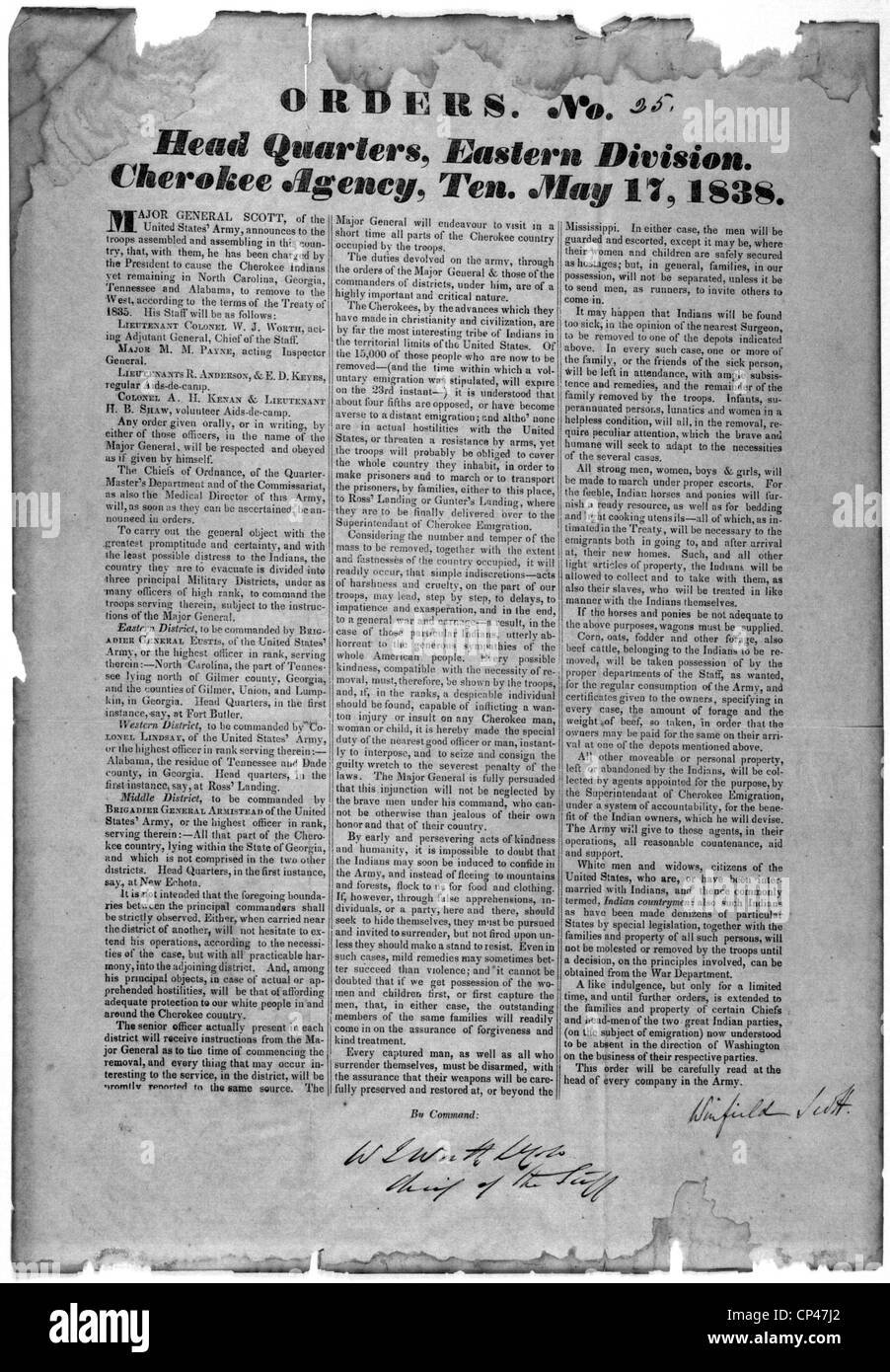 Indian Removal.  Bill of orders announces the US Army's enforcement of the Indian Removal Act against Cherokee - Stock Image