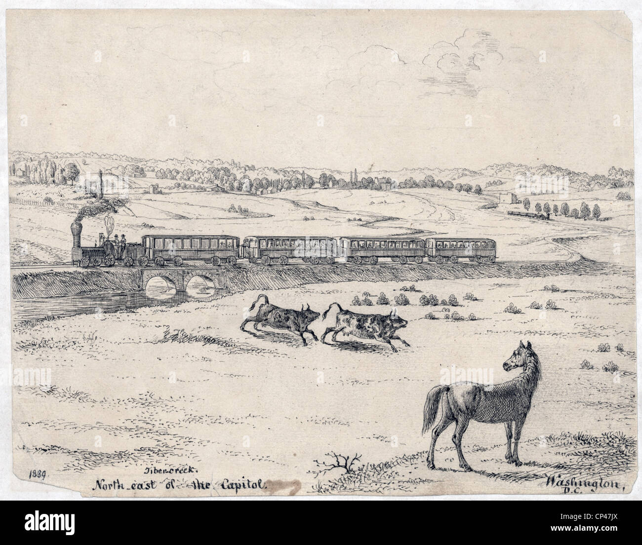 A passenger train crossing Tiber Creek, northeast of  Washington, DC. 1839 - Stock Image