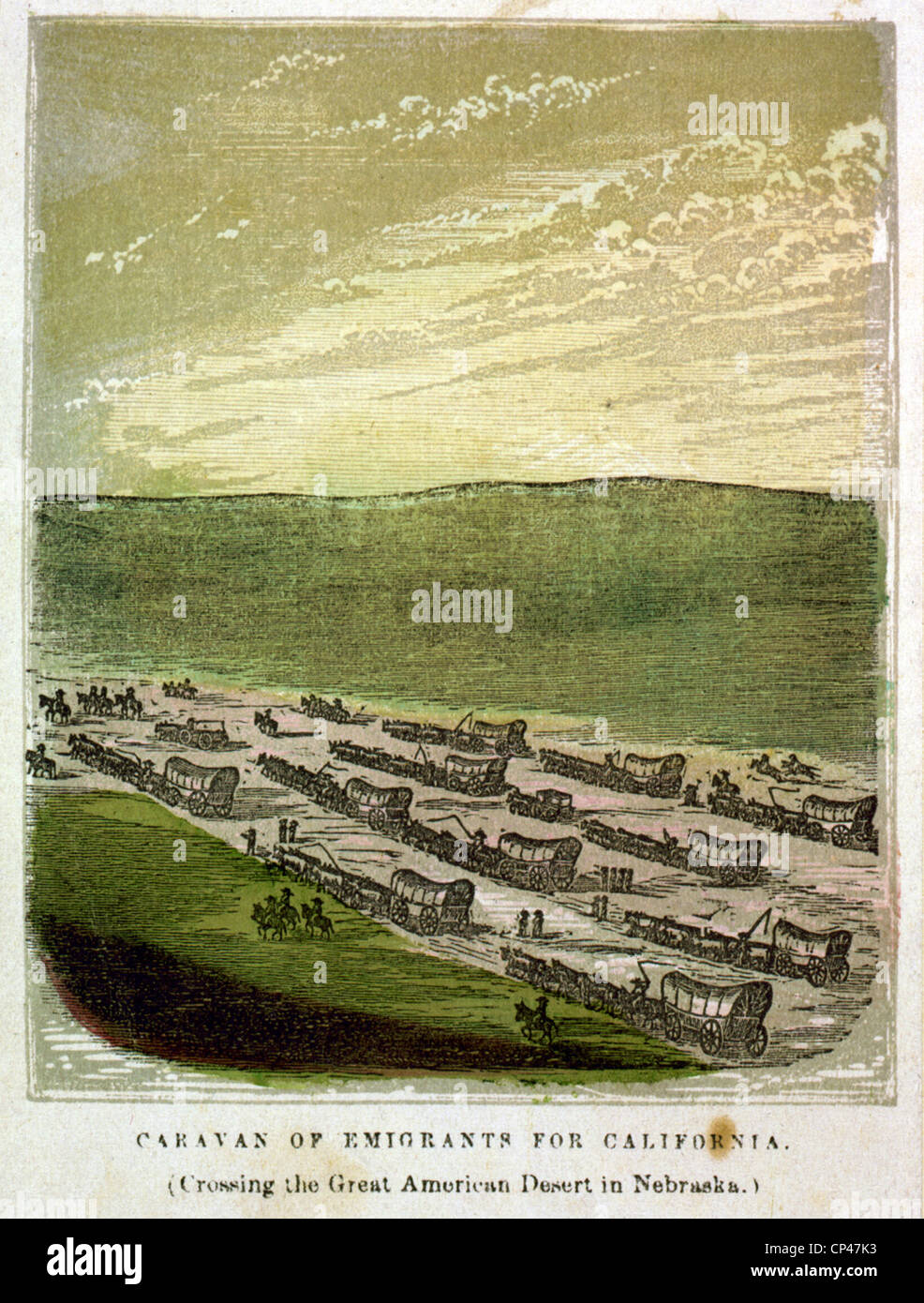 Caravan of emigrants for California (Crossing the great American desert in Nebraska)  1850 - Stock Image