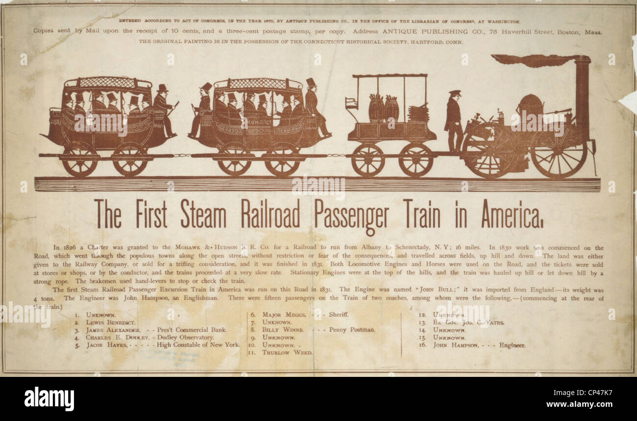 The first steam railroad passenger train in America . The Mohawk & Hudson Rail Road showing a steam engine with - Stock Image