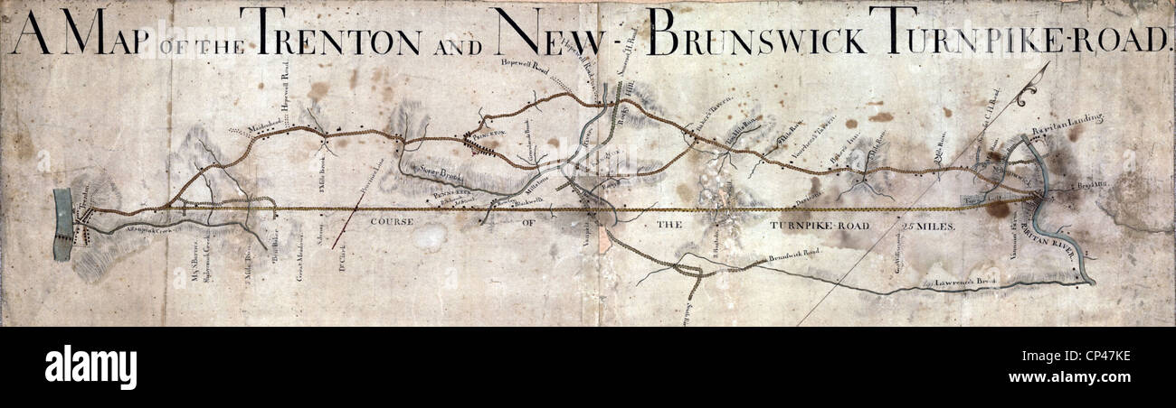 A Map of the Trenton and New Brunswick Turnpike-road. ca. 1800 - Stock Image