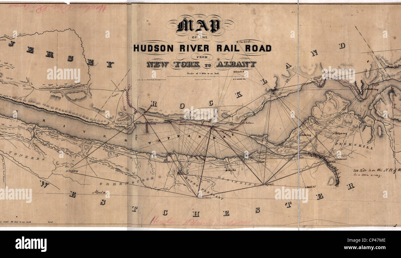 Map of the Hudson River Railroad. 1848 - Stock Image