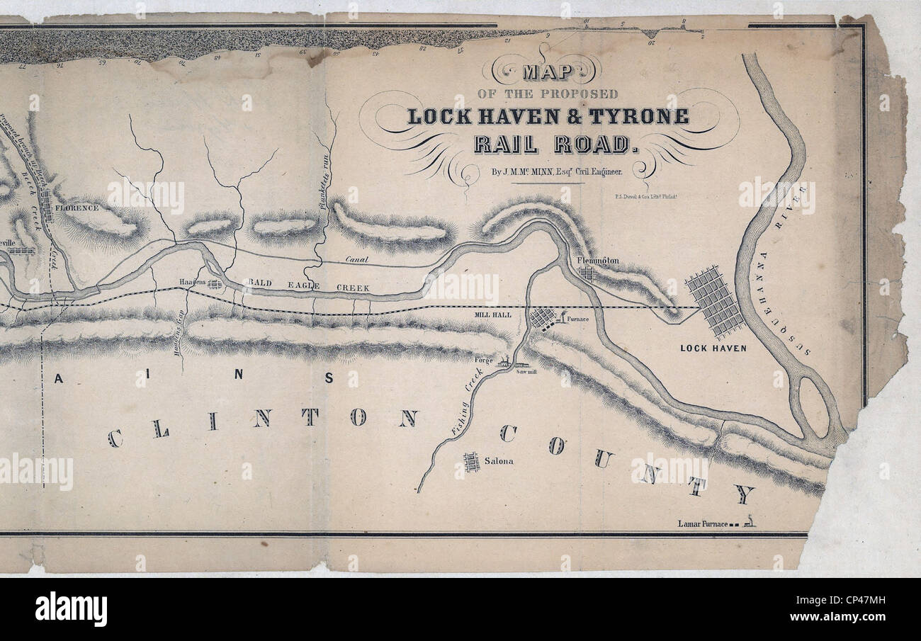 Map of the Proposed Lock Haven and Tyrone Rail Road. 1857 - Stock Image
