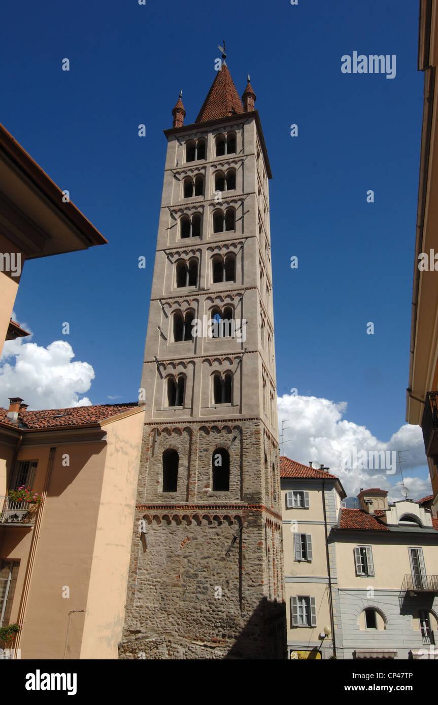 Piedmont - Biella. The bell tower of St. Stephen (XI century) - Stock Image
