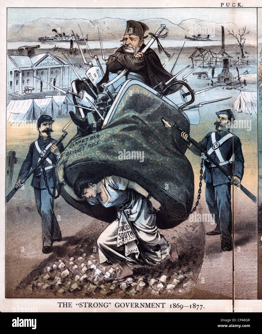 Reconstruction. Cartoon of a woman the Solid South carrying Ulysses S. Grant in a carpet bag marked carpet bag and - Stock Image