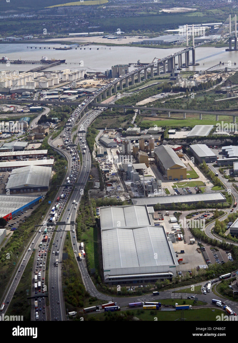 Aerial view of the M25 heading south towards the Dartford Crossing and QE2 Bridge with heavy traffic - Stock Image