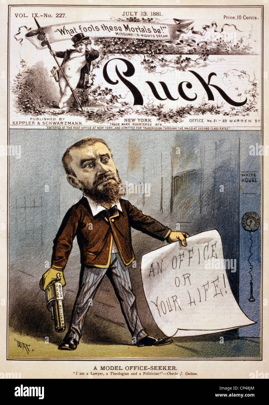 Cartoon showing presidential assassin Charles J. Guiteau holding pistol and paper reading an office or your life - Stock Image