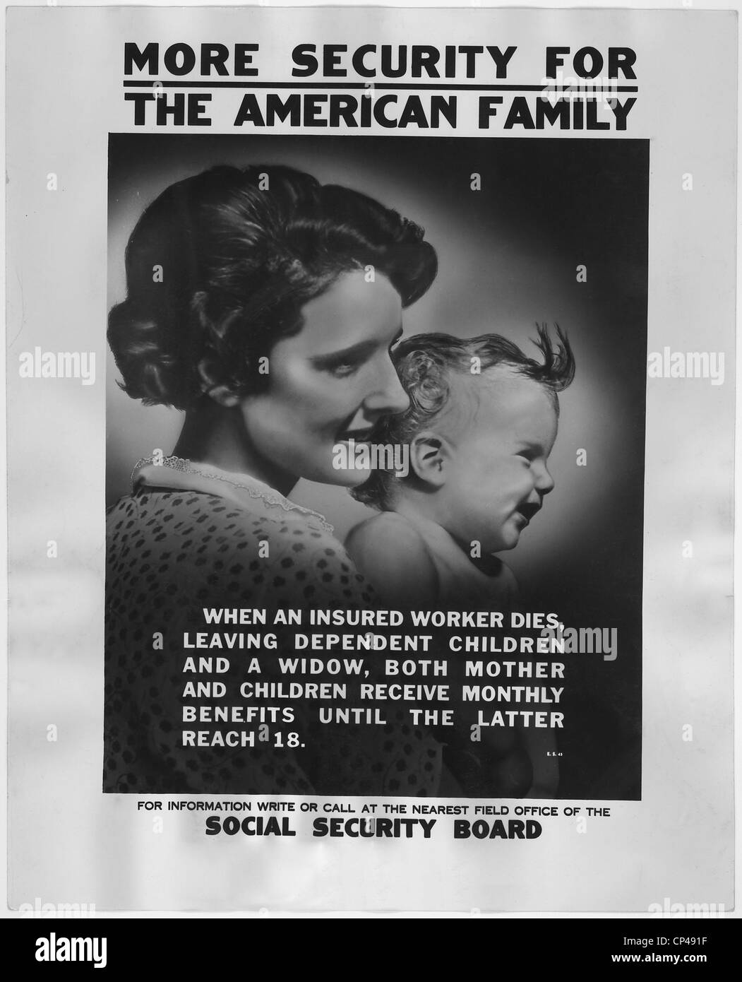 1930s poster publicizing the benefits available to mothers and dependent children under the new Social Security - Stock Image