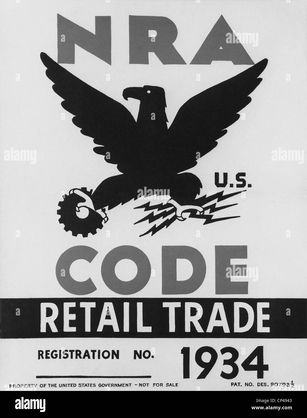 National Recovery Administration NRA poster. The NRA was the New Deal agency established to eliminate extreme competition - Stock Image