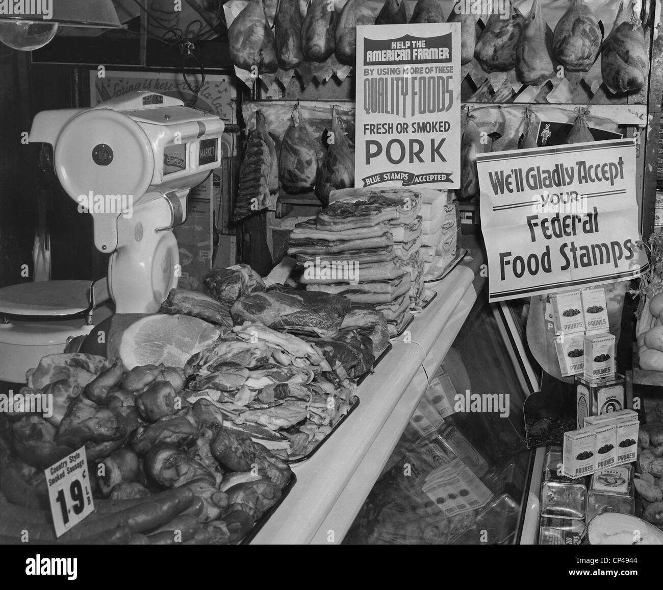 Food Market display welcoming Food Stamps made available to Americans on relief from 1939 to 1943. The first Food - Stock Image