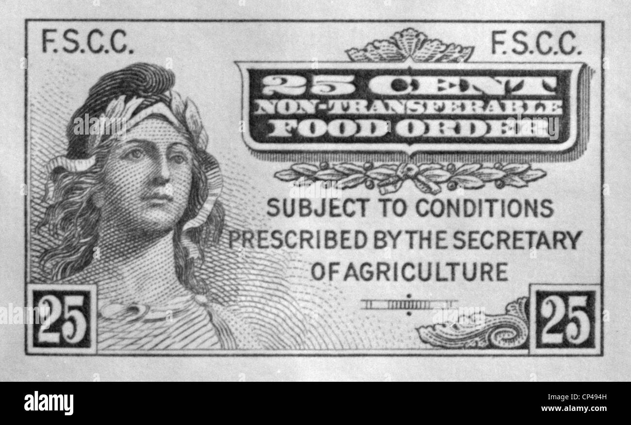 First Food Stamp Program operated from May 16 1939 through the Spring of 1943. The program made agricultural surpluses - Stock Image