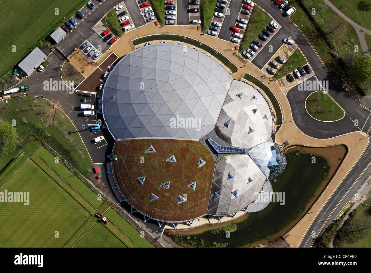 Aerial view of The Pods leisure centre, Scunthorpe - Stock Image