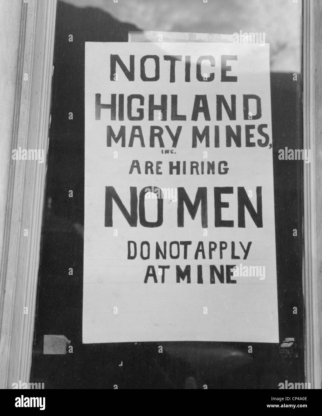 No Jobs Available Sign. 'Notice-Highland Mary Mines are hiring NO MEN-Do not apply at Mine'. Silverton Colorado - Stock Image