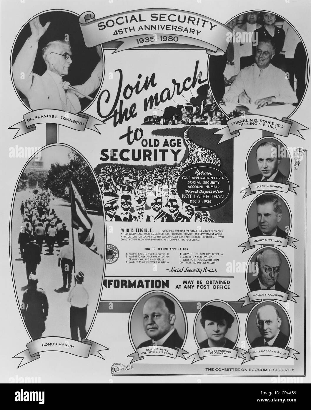 Social Security 45th Anniversary Poster. It features portraits of FDR and Francis Townsend and other New Deal politicians - Stock Image
