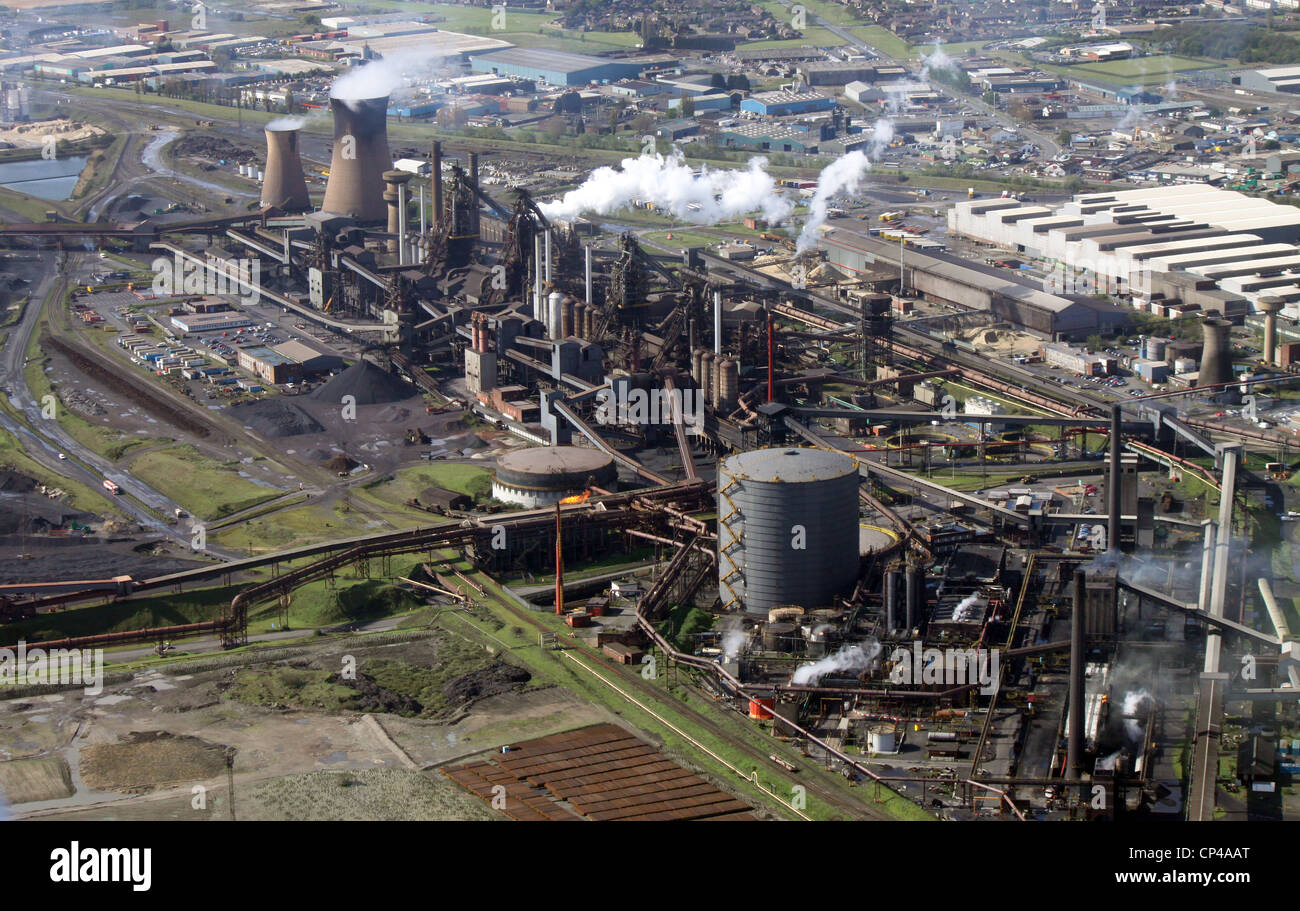 Aerial view of the British Steel Tata steelworks at Scunthorpe - Stock Image