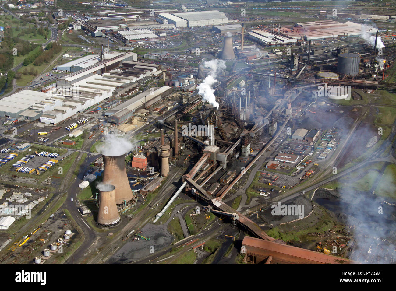 Aerial view of the British Steel Tata steelworks at Scunthorpe Stock Photo
