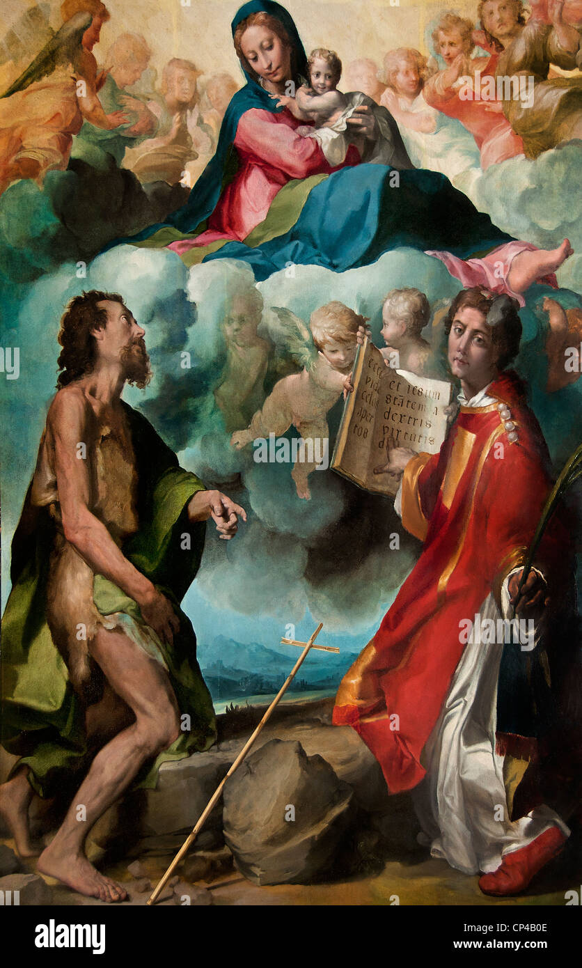 The Virgin in Glory with Saints John the Baptist and St. Stephen 1554 by Michelangelo ANSELMI Italy Italian - Stock Image