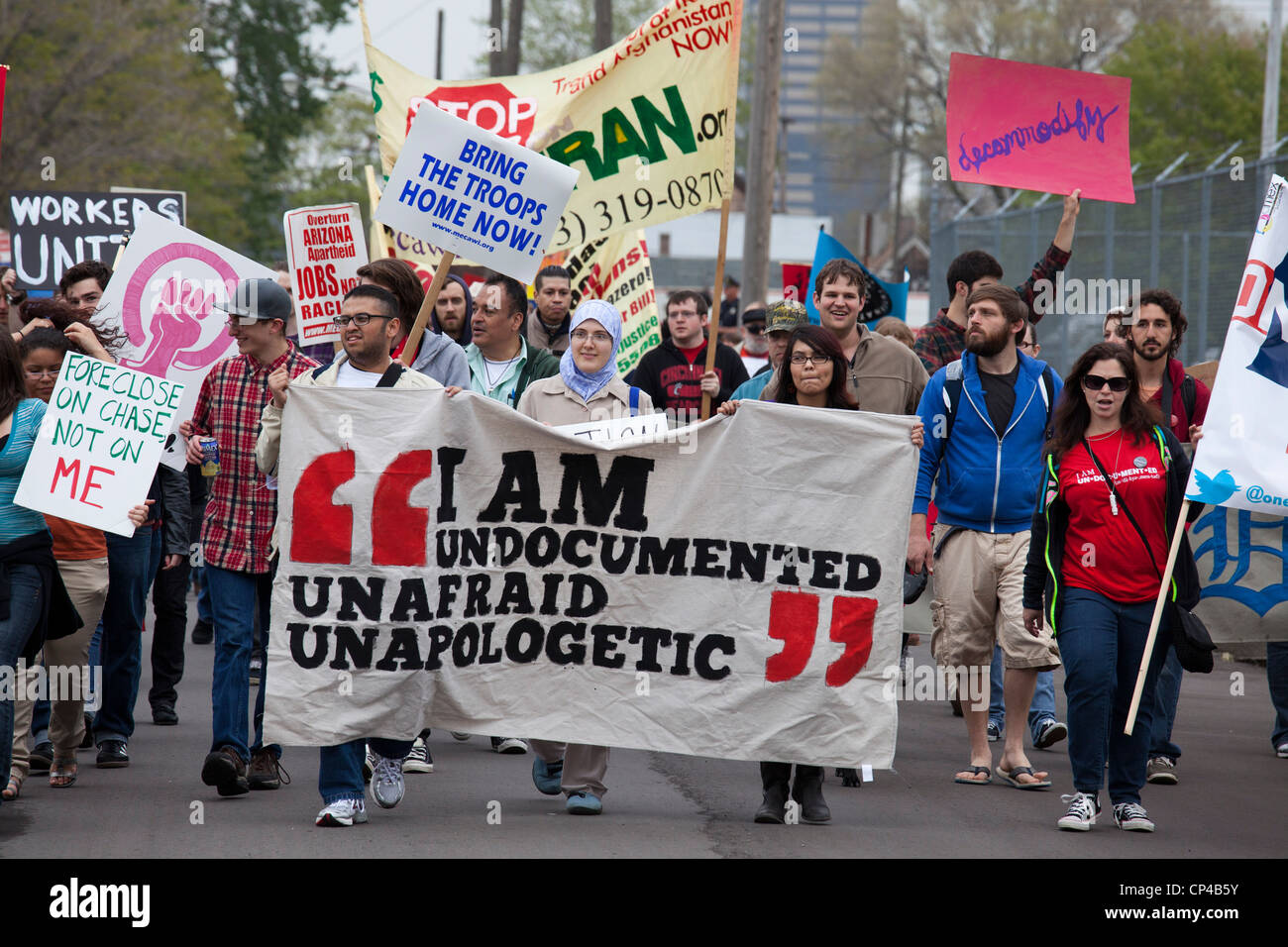 Detroit, Michigan - Immigrant rights activists participate in a May Day march and rally. - Stock Image