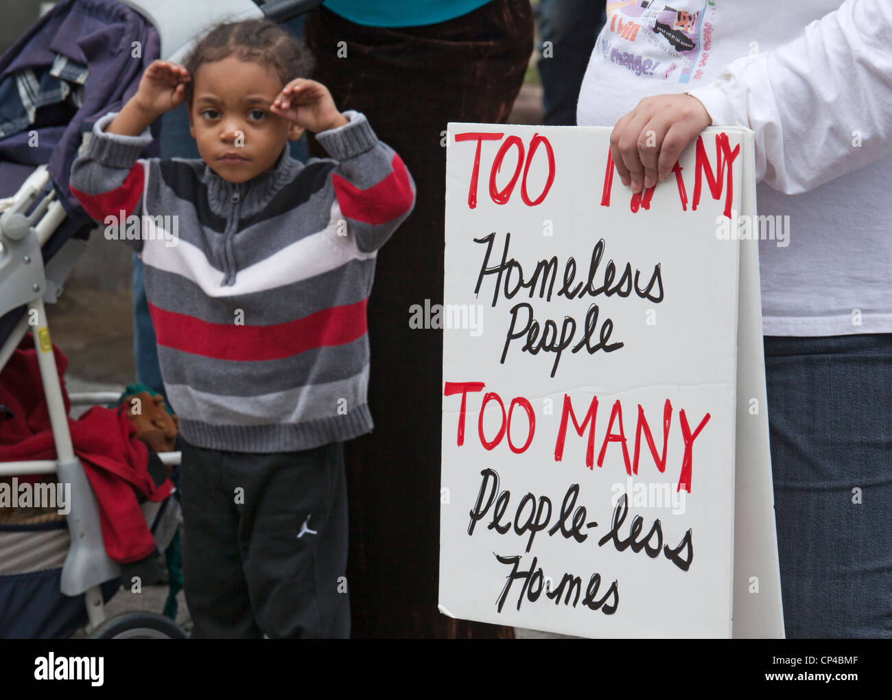 Detroit, Michigan - Protests against banks and foreclosures were part of a May Day march and rally. - Stock Image