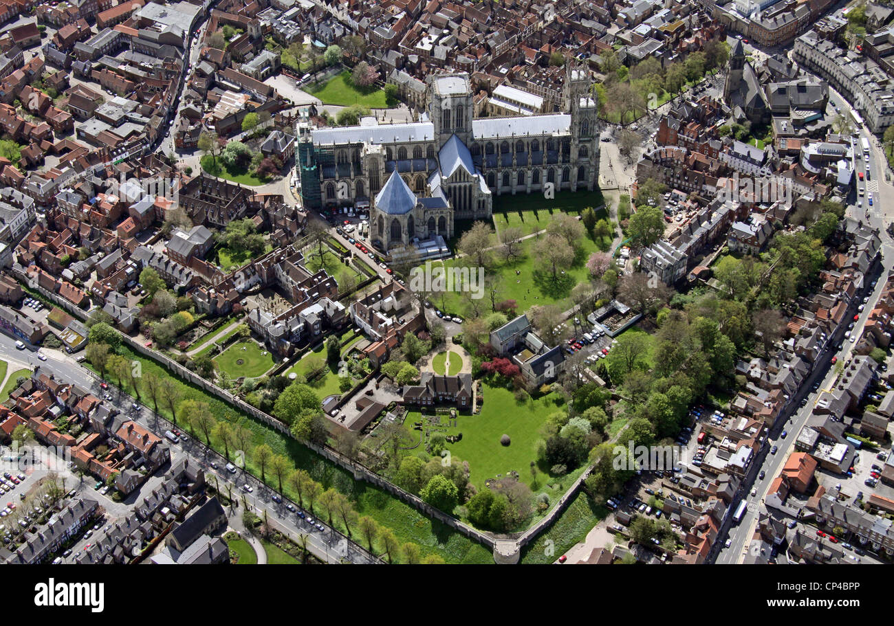 aerial view of York Minster from the North - Stock Image