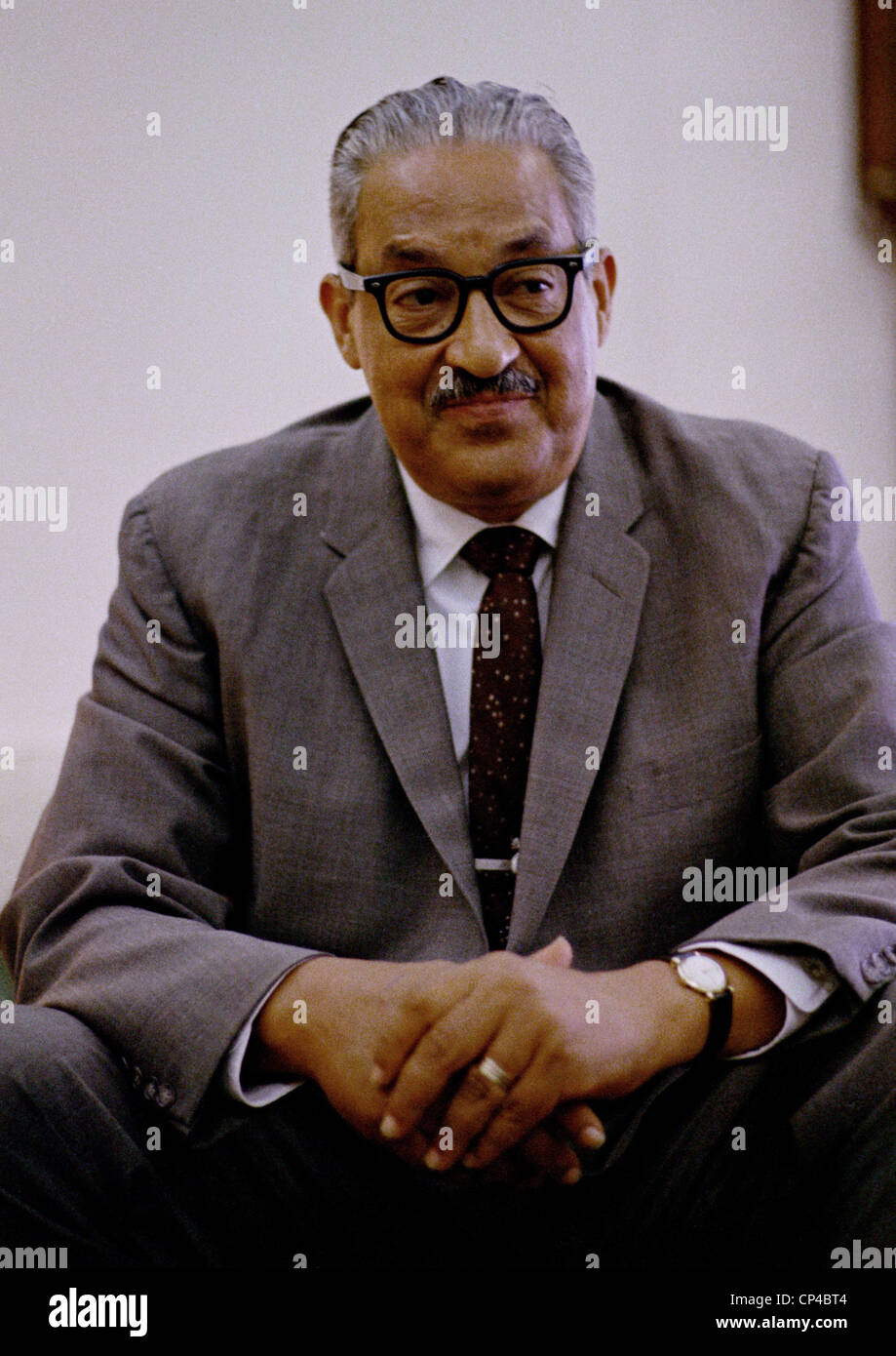 Thurgood Marshall (1908-1993), on June 13, 1967,the day President Johnson nominated him to the Supreme Court. When - Stock Image