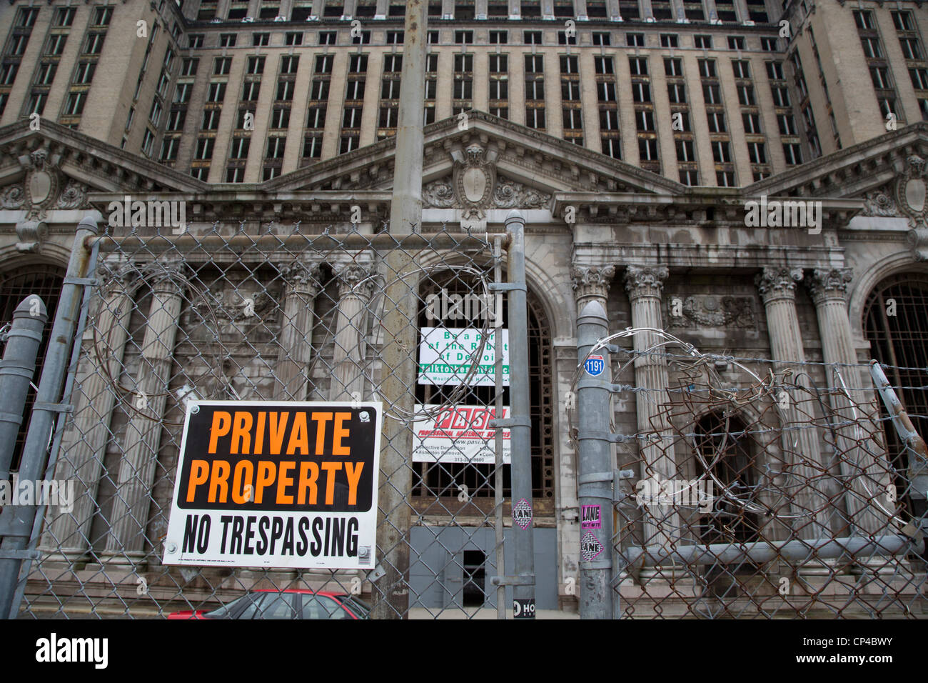 Detroit's Neglected Train Station - Stock Image
