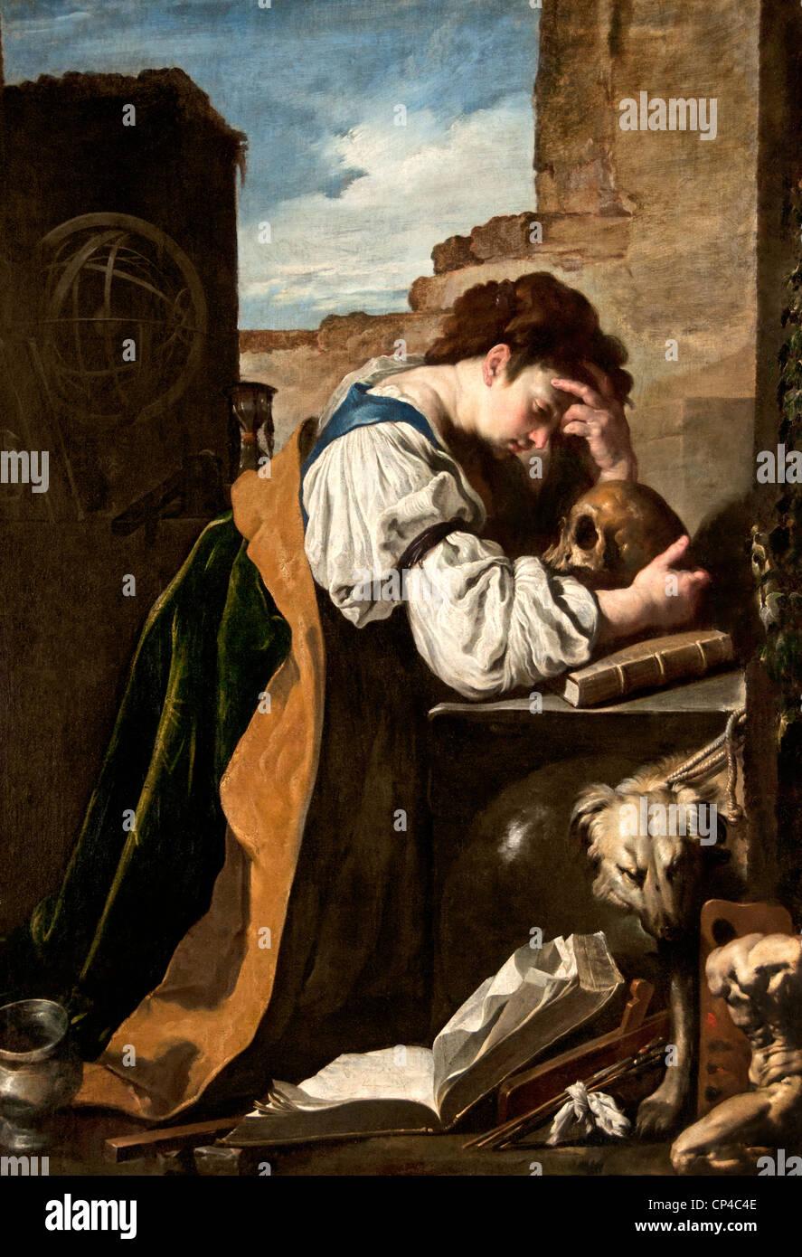 Melancholy 1618 by  Domenico FETTI 1588 – 1623 Italy Italian - Stock Image