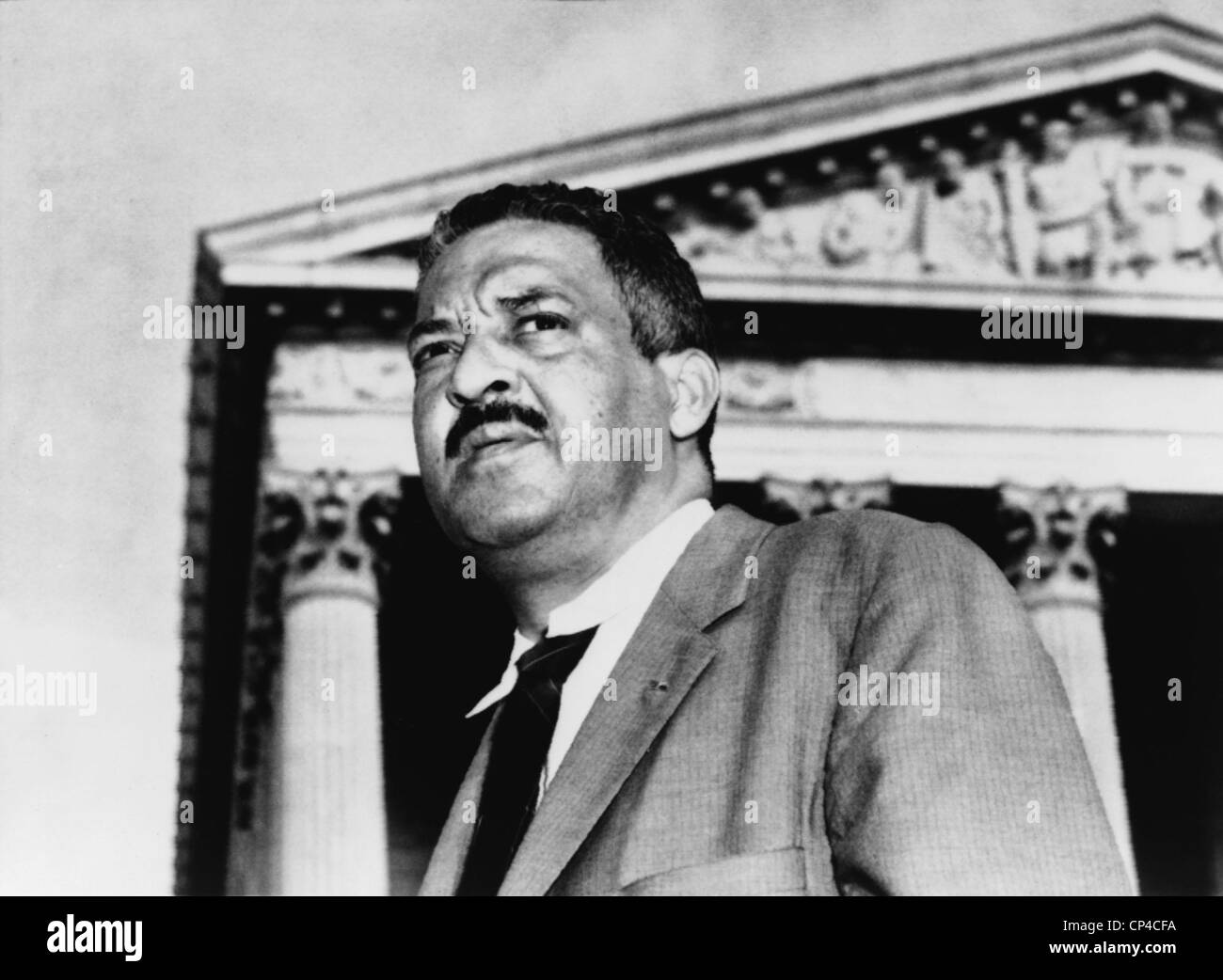 Thurgood Marshall, NAACP Chief Counsel, is shown in front of the Supreme Court in 1958. As the NAACP's chief - Stock Image