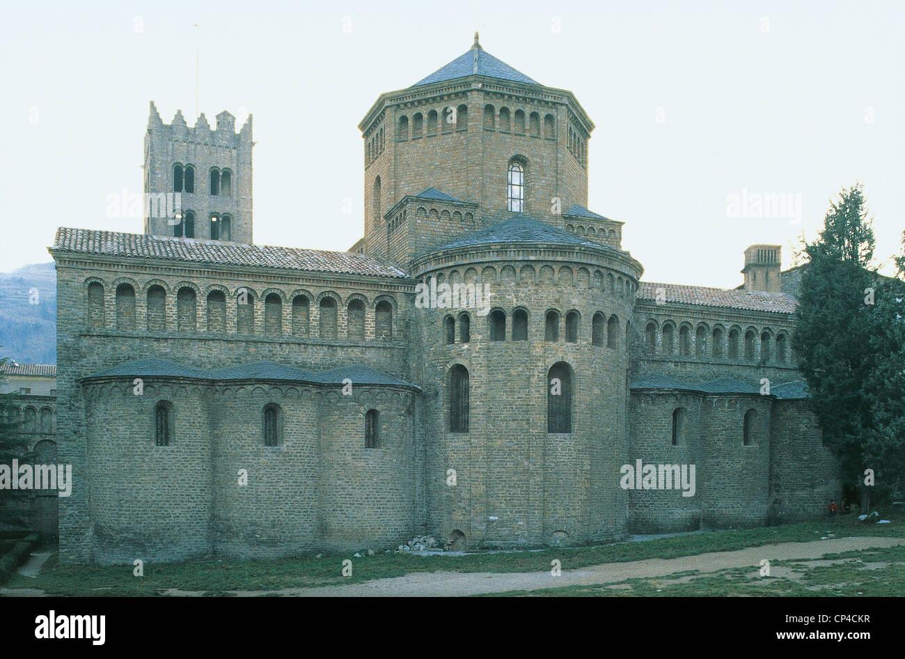 Spain Ripoll Xi Century Monastery Of Santa Maria - Stock Image