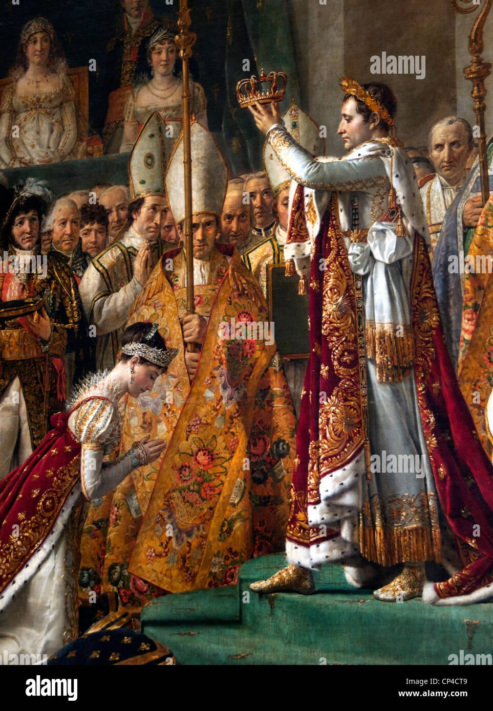 The Coronation  - Consecration Emperor Napoleon Bonaparte and Josephine 1807 Cathedral Notre Dame Paris Jacques - Stock Image
