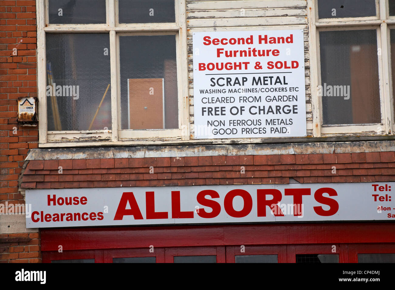 Allsorts house clearances second hand furniture bought & sold shop front at Weymouth in April - Stock Image